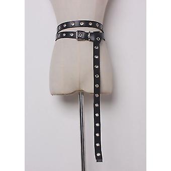 Faux Leather Multiway Stud Eyelet Belt Black