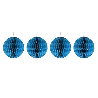 Pack of Four Blue 10cm Honeycomb Retro Pom Pom Decorations