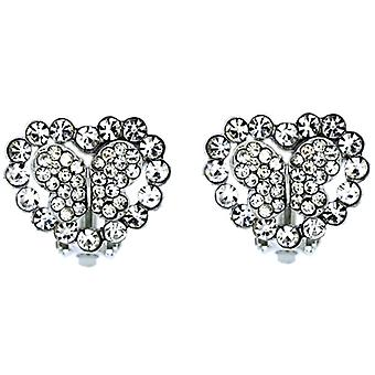 Clip On Earrings Store Silver & Crystal Butterfly within Heart Clip On Earrings