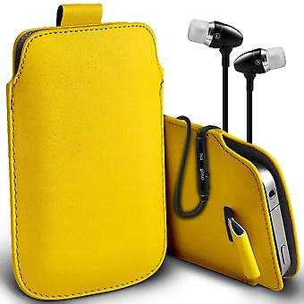 ( Yellow + Earphones) Pouch Case For Samsung Galaxy J3 Pro case Premium Stylish Faux Leather Pull Tab Pouch Skin Case Various Colours To Choose From With High Quality Fitted in Ear Buds Stereo Hands Headphones Headset with Built in Micro phone Mic and On-Off Button Samsung Galaxy J3 Pro Cover By i-Tronixs