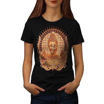 Buddha Head Religion Culture Women Black T-shirt | Wellcoda