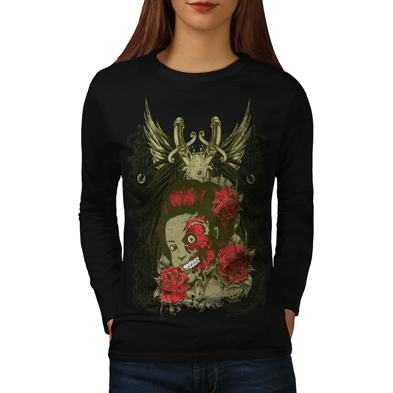 Dead Girl Rose Zombie Women Black Long Sleeve T-shirt | Wellcoda