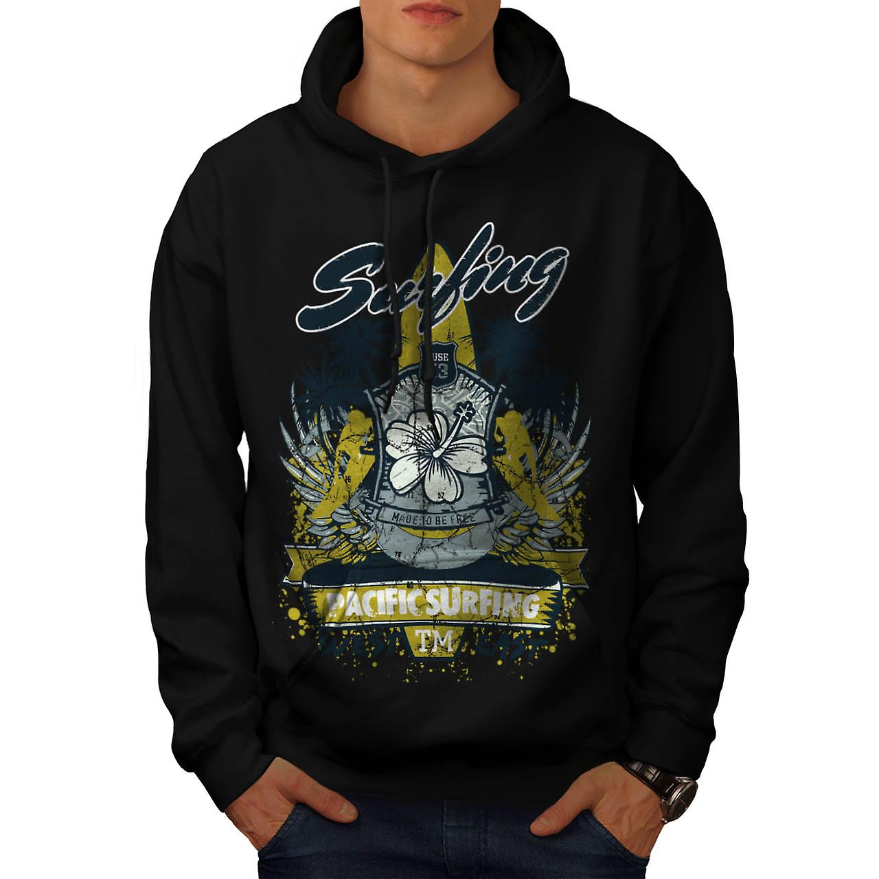 Pacific Surfing Beach West East Men Black Hoodie | Wellcoda