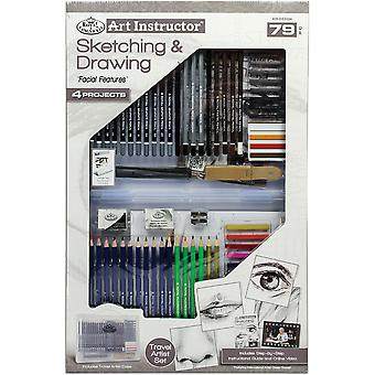 Sketching & Drawing Clearview Art Set-Large - 79pc RDS3304