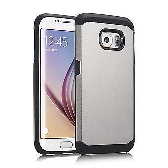 Cover armor 2 PC kunststof onderdelen, rubber TPU case voor Samsung Galaxy S6 Edge (grijs)
