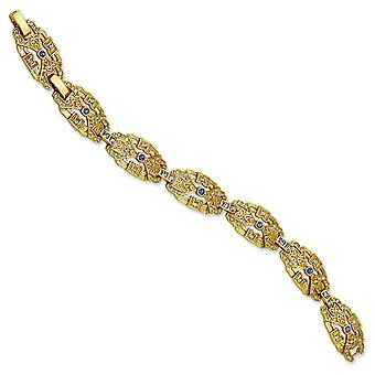 Gold-plated Crystal Blue Art Deco 7inch With 1In ext Bracelet