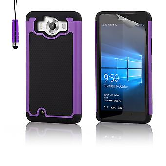 Shock proof case + stylus for Microsoft Lumia 950XL - Purple