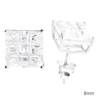 925 Sterling Silber Iced Out Ohrstecker - SQUARE CUT CAST
