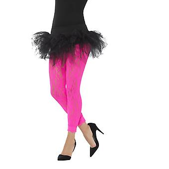 80s leggings neon pink lace ladies costume one size