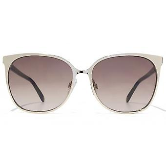 French Connection Fine Metal Square Sunglasses In Light Gold