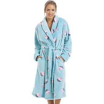 Camille Supersoft Fleece Aqua Blue Cupcake Bathrobe