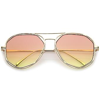 Oversize Open Metal Slim Temples Gradient Flat Lens Aviator Sunglasses 60mm