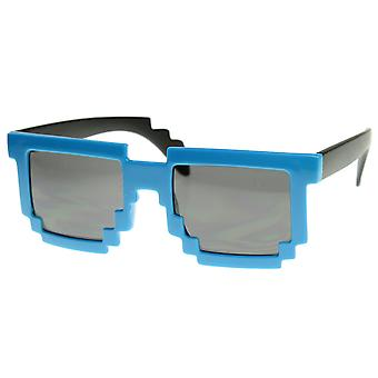 Retro Novelty Nerd Geek Gamer Colorful 2-Tone Pixel Glasses