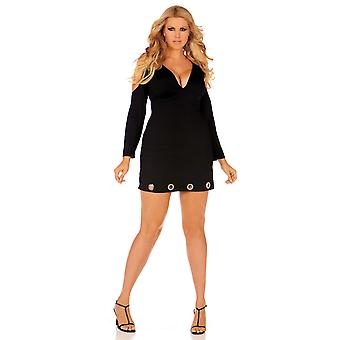 Elegant Moments EM-8273X Long sleeve V-neck dress with open shoulders plus sizes