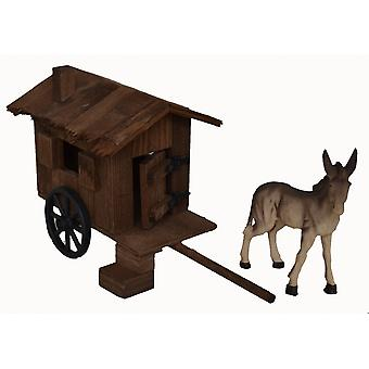 Donkey with Schäfer wagon wooden cart for Christmas Nativity stable Nativity accessories