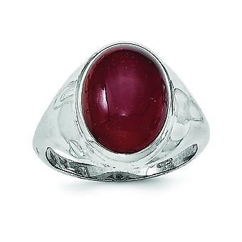Sterling Zilver rode Agate Ring - Ringmaat: 6 tot en met 8