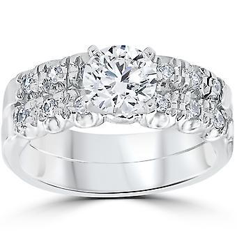 1 karat diament pierścionek zaręczynowy pasujące obrączkę widelec zestaw 14K białe złoto