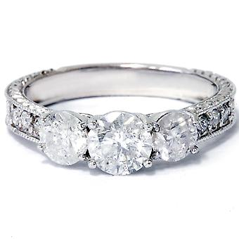 1 3 / 4ct Vintage drie steen ronde Diamond Engagement Ring 14K White Gold