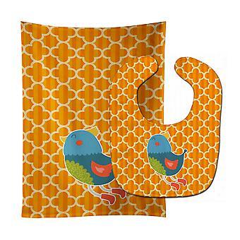 Carolines Treasures  BB6776STBU Bird Baby Bib & Burp Cloth