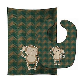 Carolines Treasures  BB7025STBU Monkey Baby Bib & Burp Cloth