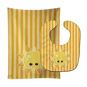 Carolines aarteita BB7155STBU sää Sunshine Face vauvan ruokalappu & röyhtäyttää kankaalla