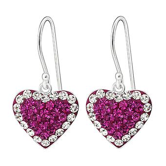 Heart - 925 Sterling Silver Crystal Earrings