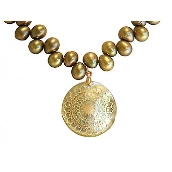 Gemshine - ladies - necklace - pendant - Locket - pearls - mother of Pearl - gold plated - bronze - 3 cm