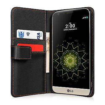 Yousave Zubehör LG G5 Effekt Wallet Ledertasche - schwarz