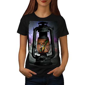 Hummingbird Lantern Women BlackT-shirt   Wellcoda