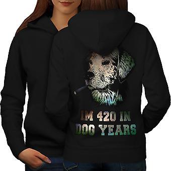 42 Dog Years Weed Women BlackHoodie Back | Wellcoda