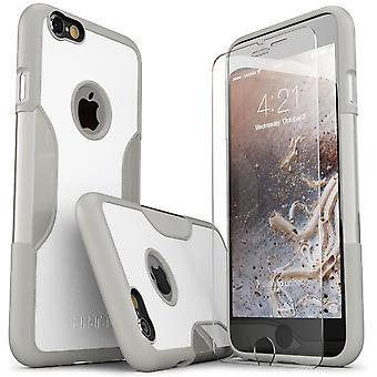 SaharaCase® iPhone 6/6s más fósiles caso blanco, clásico paquete Kit de protección con vidrio templado de ZeroDamage®