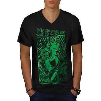 Ace Card Spades Men BlackV-Neck T-shirt   Wellcoda