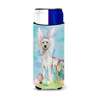 Chinese Crested Easter Bunny Michelob Ultra Hugger for slim cans