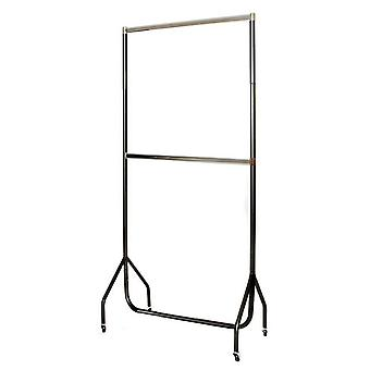 3' Black Garment Rail Chrome Top & Centre Rail, Black Extension Pieces