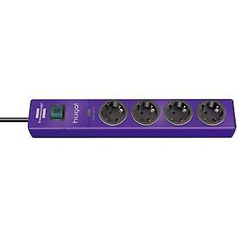 Surge protection socket strip 4 x Purple PG connector Brennenstu