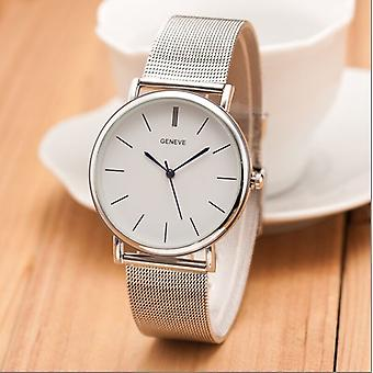 Slim Thin Silver Smart Fashion Watch Mesh Bracelet