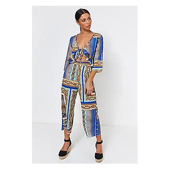 The Fashion Bible Brion Blue Baroque Print Frill Jumpsuit