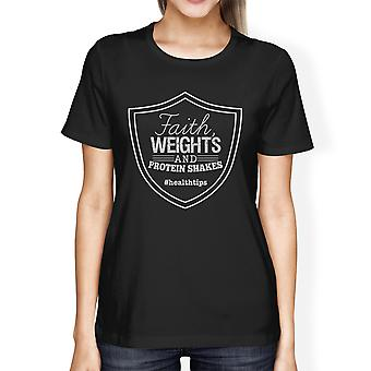 Faith Weights Womens Black Workout Fitness T-Shirt For Gym Gifts