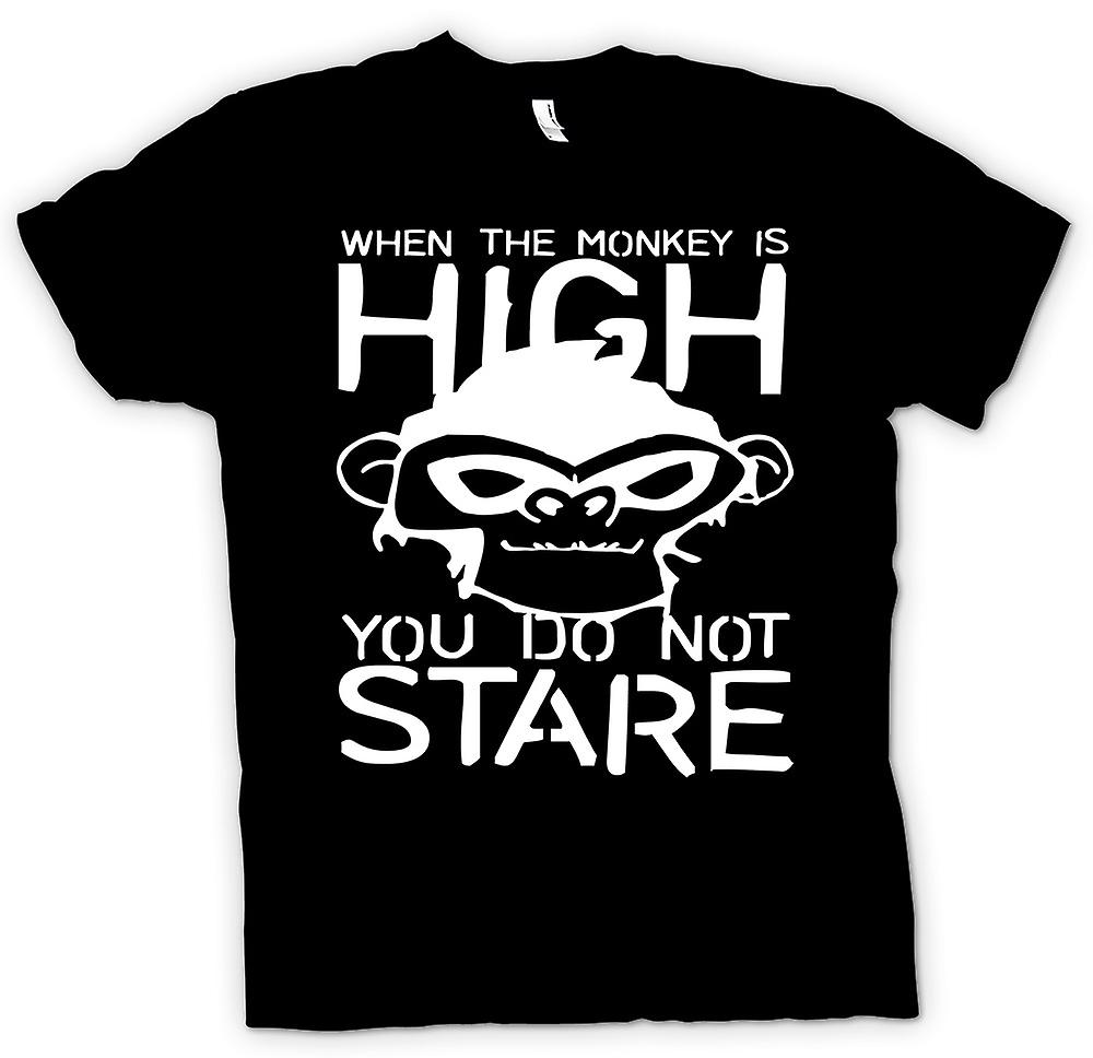 Mens T-shirt - When The Monkey Is High You Don�t Stare