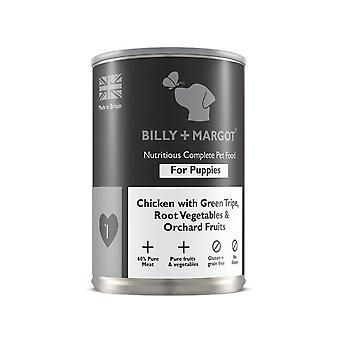 Billy + Margot komplett nass Welpe Hund essen Huhn & Kutteln 395 g x 12 Pack