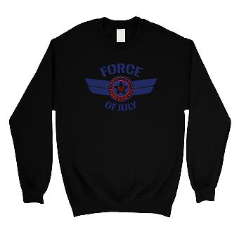 Force Of July Unisex Black Round Neck Sweatshirt American Army Gift