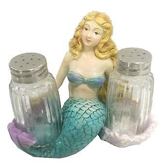 Gylne håret Mermaid Salt og Pepper Shakers sett