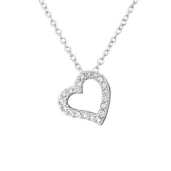 Heart - 925 Sterling Silver Jewelled Necklaces - W33891x