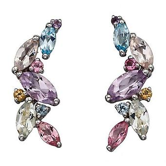 Elements Gold Pastel Mixed Stone Marquise Earrings - Multi-colour/White Gold