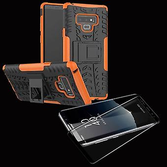 Morceau de sac affaire 2 hybride SWL Orange Samsung Galaxy touch 9 N960 + 4D dur verre noir