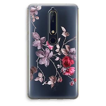 Nokia 6 (2018) Transparent Case (Soft) - Pretty flowers