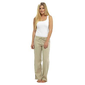 Womens Elasticated Waist Linen Trouser Bottoms Lounge Wear Pants