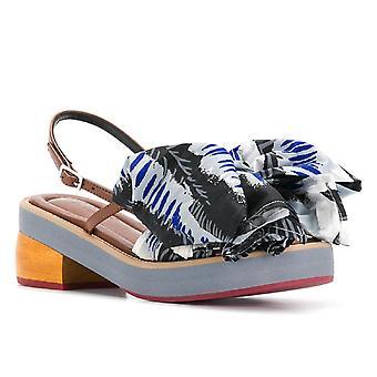 Marni kitten heel sandals with big fabric bow