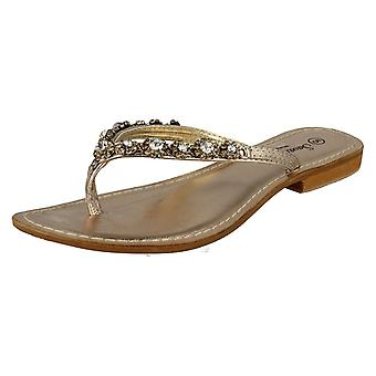 Ladies Savannah Sandals Gold Size 4