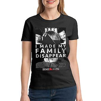 Home Alone I Made My Family Disappear Quote Women's Black T-shirt